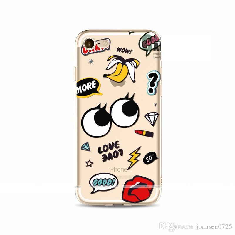 For iphone 5S 6S 7 plus cases cartoon hot lips painting Crystal TPU ultra thin back cover shell cell phone cases 2017