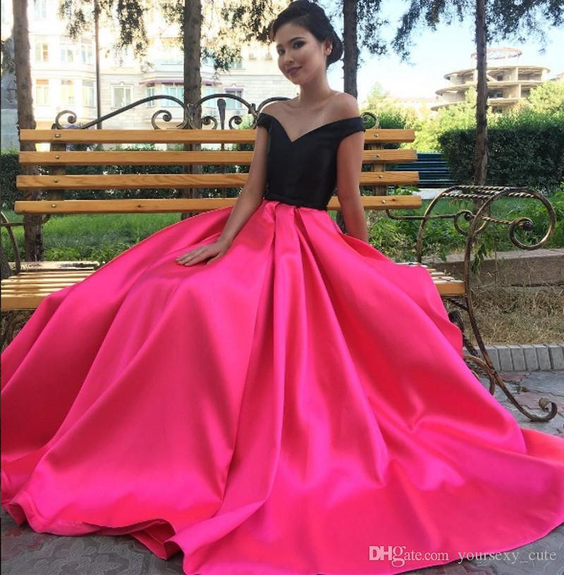 Black Pink Off Shoulder Prom Dresses Satin Custom Made Plus Size