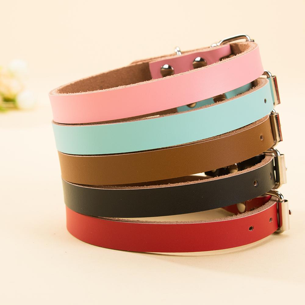 Classic Plain Leather Dog Neck Adjustable Collars Simple Design Stainless Steel Puppy Collar Pet Supplies for Small Dogs Cats Drop Shipping