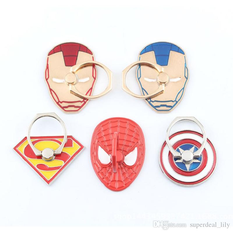 Universal 360 Degree Super Hero Finger Ring Holder Metal Phone Stand Mount Support For Samsung Huawei Mobile Phones