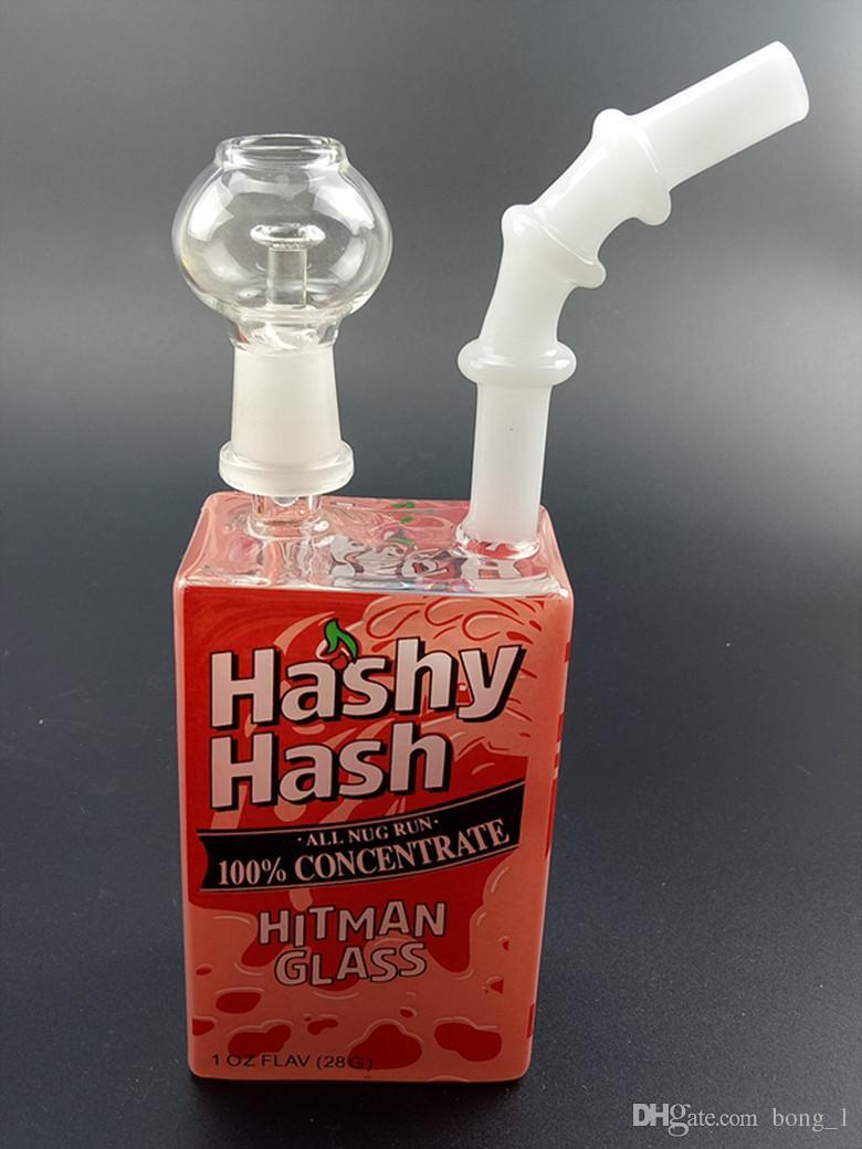 살인업자 유리 주스 박스 Dab 오일 조작 비커 Bongs 액체 Sci 유리 시리얼 상자 물 파이프 Themed Concentrate Rigs Hookahs