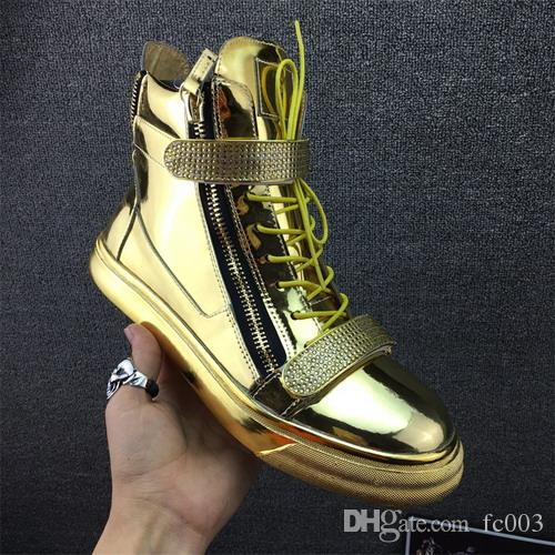 Top Brand Designer Zapatos Hombre Round Toe Men Hip Hop Sneakers Gold  Chains Men Casual Shoes High Top Sneakers Online with  129.35 Pair on  Fc003 s Store ... 88cd15bcaddc