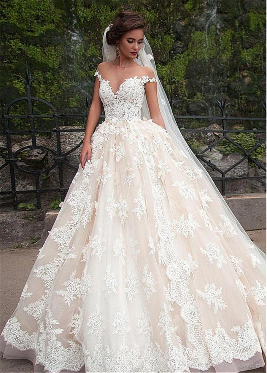 3db1e423709 Fantastic Tulle Bateau Neckline Ball Gown Wedding Dresses With Lace  Appliques Hot Design Champagne Bridal Gowns Vestido De Novia Wedding Dresses  With ...