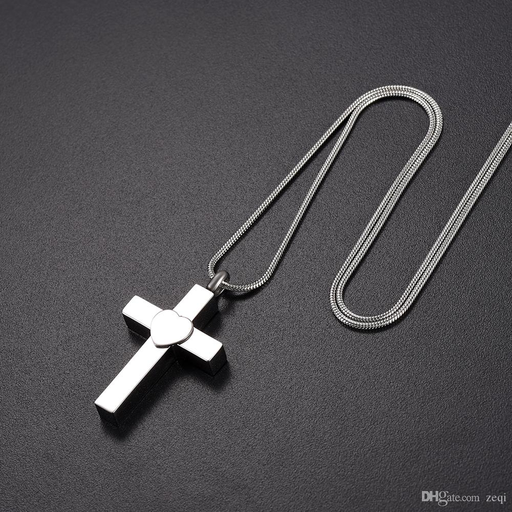 Love of Cross Ashes Holder Pendant Pet/Human Ashes Stainless Steel Memorial Ash Funeral Casket Jewelry For Ashes Pendant Necklace
