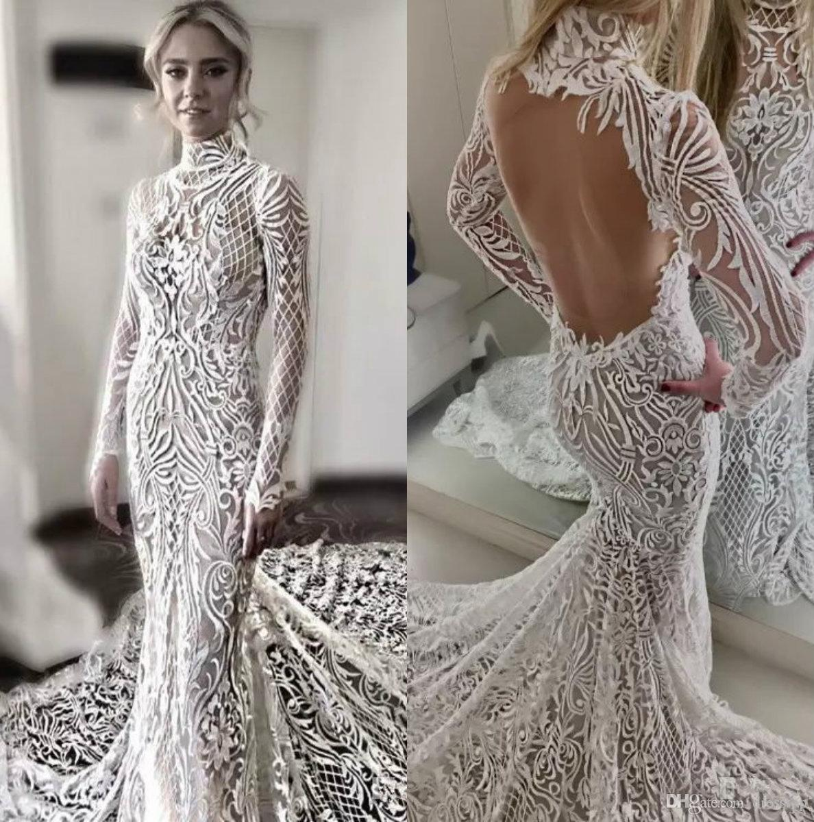 Elegant Full Lace Wedding Dresses High Neck Long Sleeves Backless ...