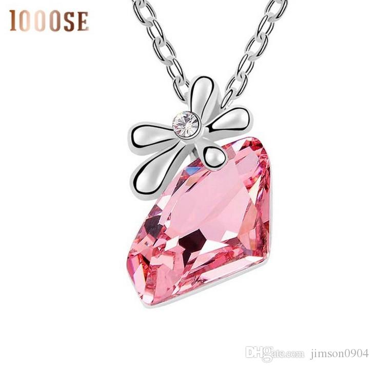 2017 new A genuine SWAROVSKI Elements Crystal Necklace with pendant jewelry -- happy flowers high-grade female sale