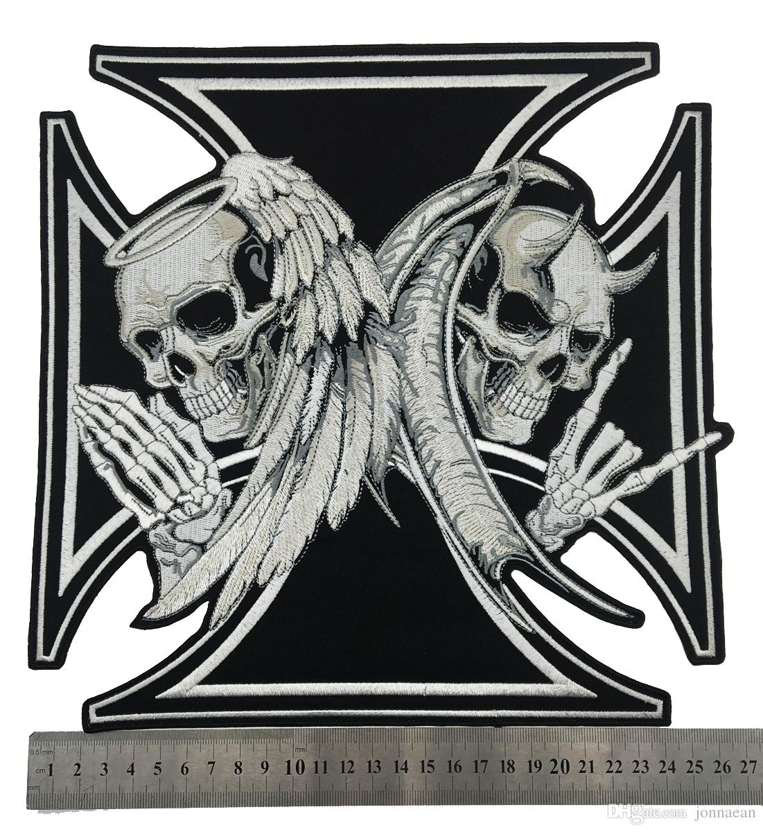 NEW ARRIVAL LARGE SIZE CROSS DEATH DEVIL SKULL PATCH ANGEL SKULL MOTORCYCLE BIKER EMBROIDERED BACK PATCH IRON ON SEW ON