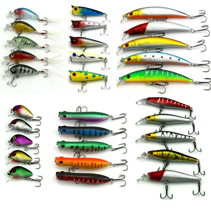 Hot 2017 30Pcs/Lot Fishing Lure Mixed 6Models Fishing Tackle 30Colors Minnow Lure Crank Lures Popper Mix Fishing Bait Baiting