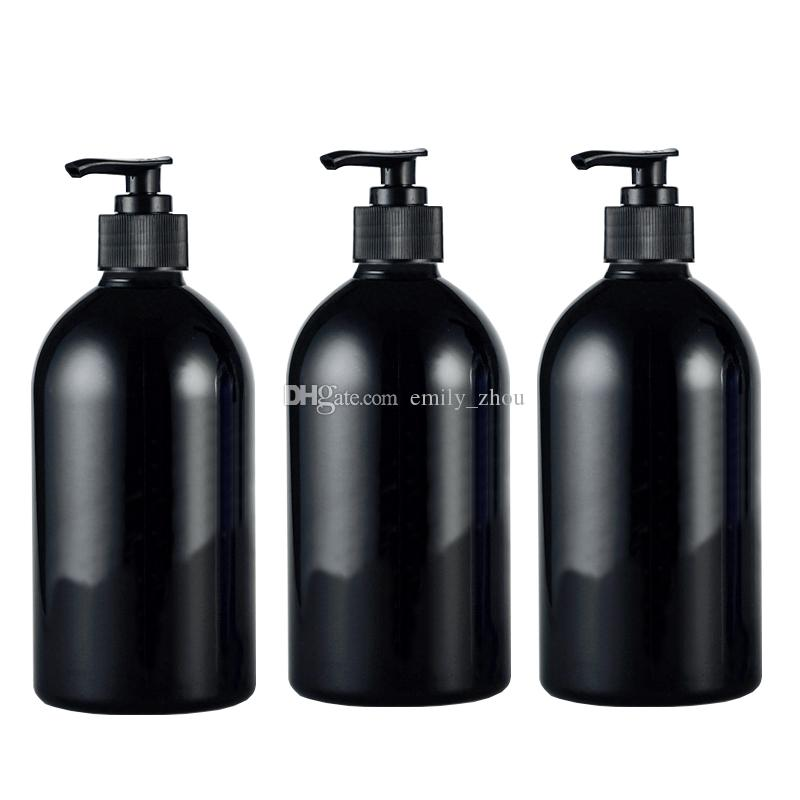 500ml Empty Lotion Pump Black Bottle Pet Cosmetic