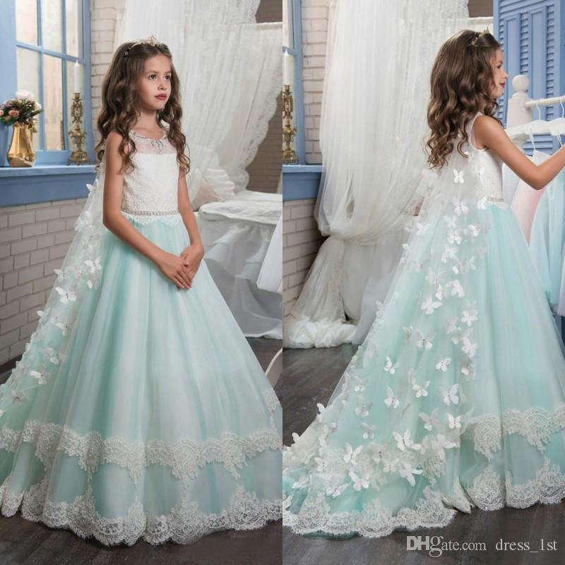 Latest 2017 Mint Tulle Ivory Lace A Line Flower Girls Dresses For ...