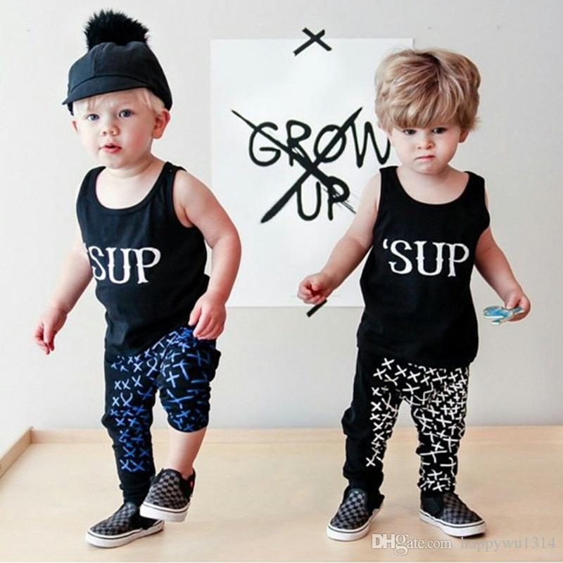 Baby Clothing Sleeveless Letter Printed Outifits Suits For Boys Summer Newborn Cotton Vest Tops and Pants Sets