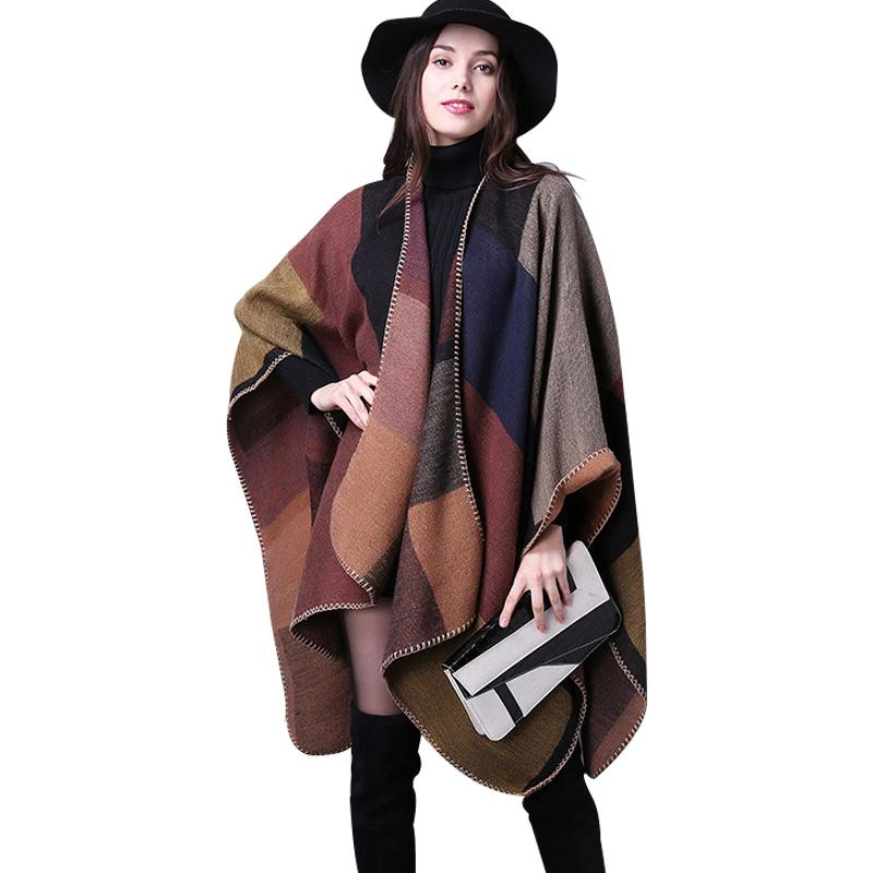 b4112676c 2019 Wholesale 2016 Women Poncho Cotton Loose Ladies Outerwear Long Cashmere  Wool Scarf Plaid Cardigans Sweater Cape Block Check Blanket Poncho From ...