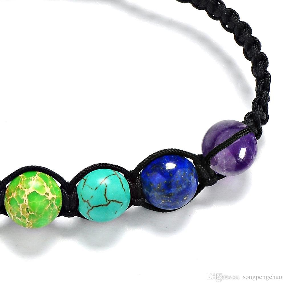Heißer Verkaufs-Trend 7 Chakra Armbänder für Männer Frauen Strass Reiki Gebet Steine 7 Chakra Healing Gleichgewicht Armband handgewebte 8mm Beads