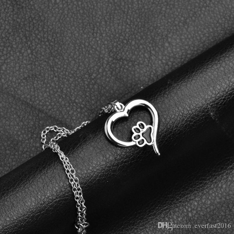 New Fashion Cute Animal Dog Cat Puppy Paw In Love Heart Charm Necklace Black Oil Paw Pendant Sisters Girls Kids Family Gift EFN017-A