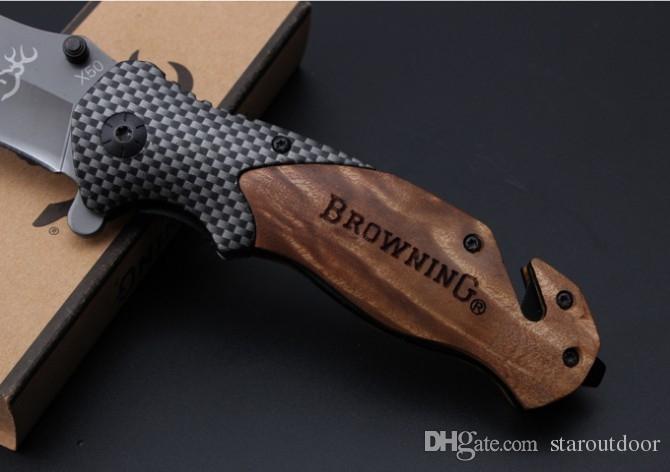 Whoesale Browning X50 Titânio Tactical Faca Dobrável Faca Flipper 5Cr15Mov Wood Wood Hand Lipper Camping Caça Sobrevivência Bolso Xmas Coleção
