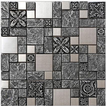 2018 Rustic Gray Resin Mix Metal Tiles Design, Stainless Steel Kitchen  Backsplash Wall Tiles,Vintage Metal Mosaic Building Materials, ...