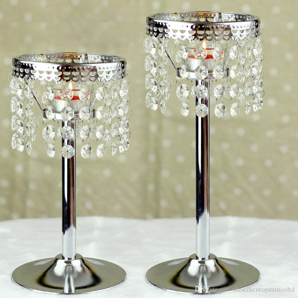 Cadena de cristal candelabro de metal candelabros de boda centro de mesa faroles marroquíes decorativos Candlestick votice vela de pie