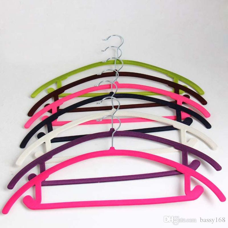 Anti-Wind No Trace Velevt Hangers for Clothes 38cm 45cm for Lady Man Children clothes Flocking Magic Hanger for Home Office Closet Shop Floc