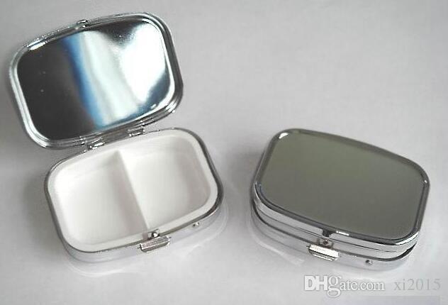 Rectangle Metal Pill Boxes Organizer DIY Medicine Case Holder 2 Silver