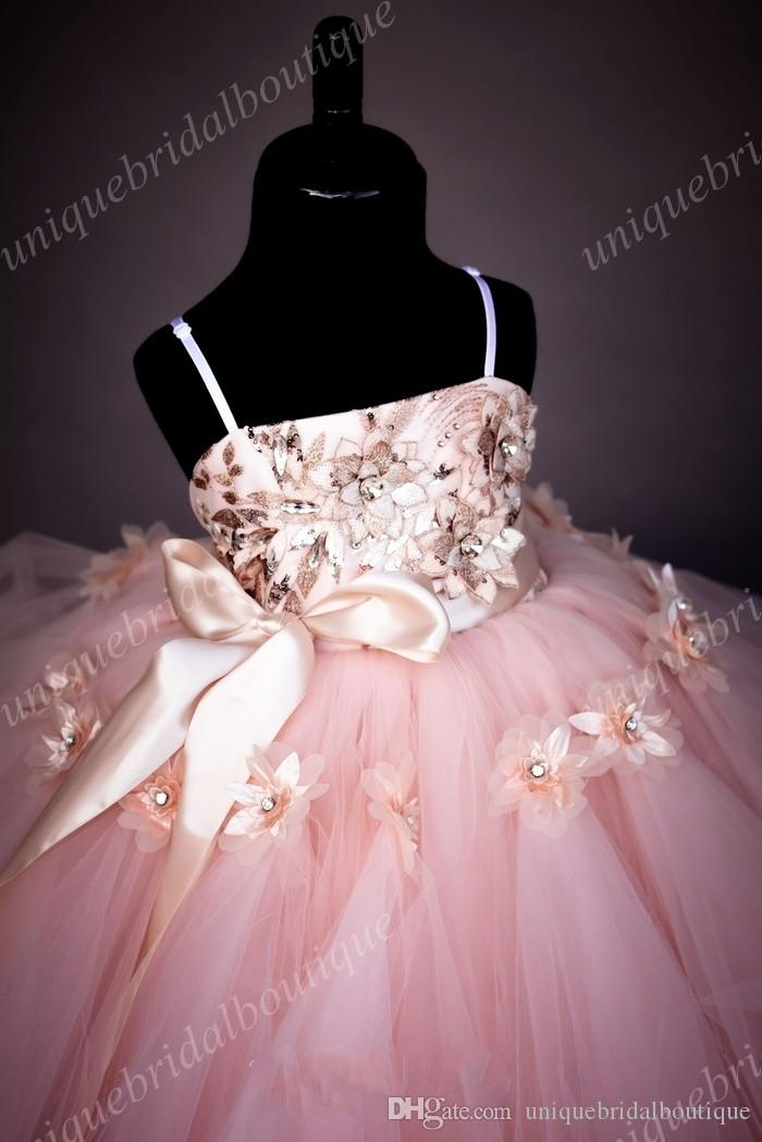Graduation Dresses Kids Sequins Princess Flower Girl's Dresses with 3D Florals and Ruffles Skirt Real Photos Blush Girls Birthday Gowns
