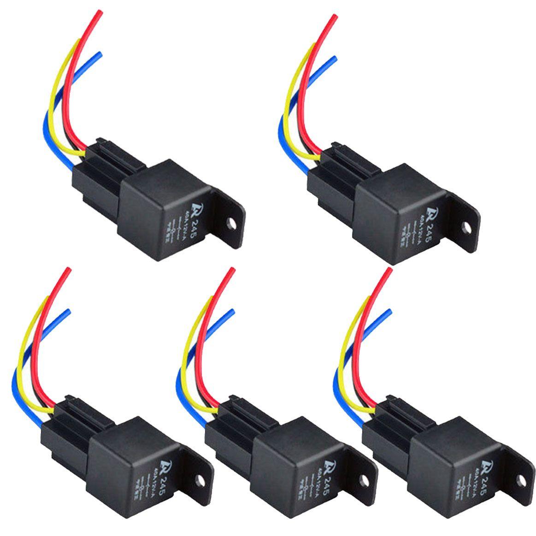 12 V 12 Volts 40A Auto Relé Automotivo Soquete 40 Amp 4 Pin Relé Fios M00003 VPRD