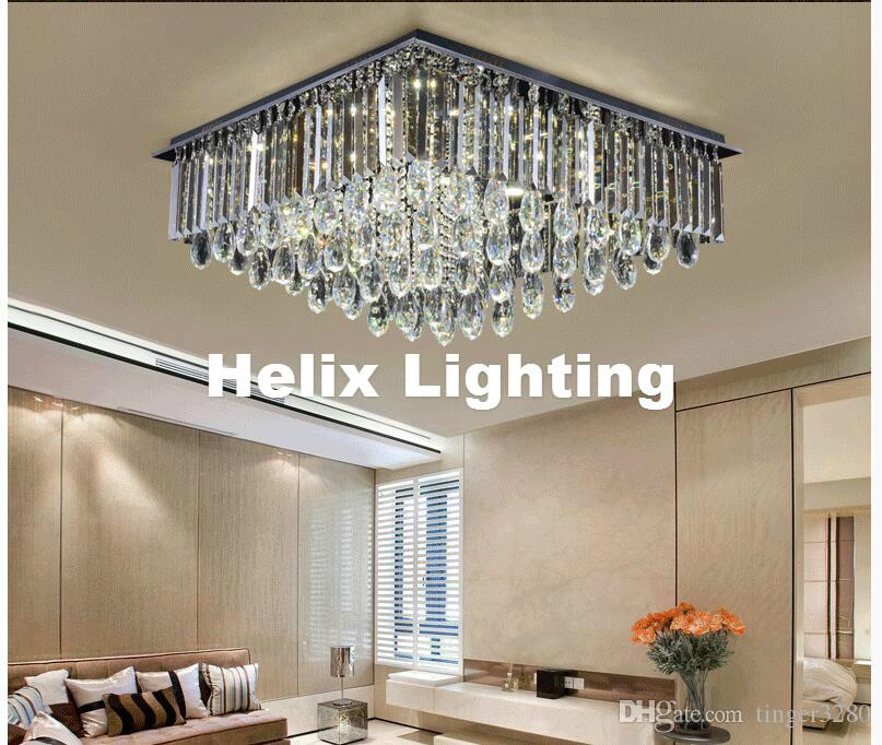 Indoor Lamp Modern Led Crystal Ceiling Light Fixture Smokey Clear