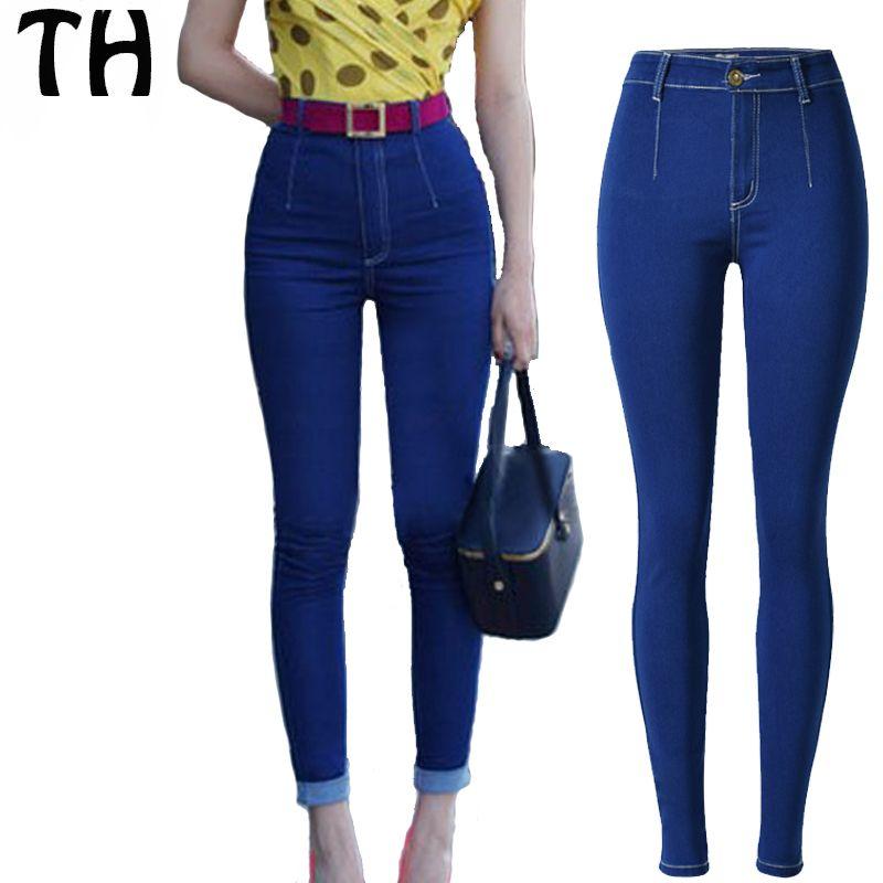 Compre Al Por Mayor 2016 Slim Fit Jeans Elásticos Elásticos Para Mujeres De  Cintura Alta Jeans Femme Pantalones Mujer Taille Haute Street Denim Pants  ... 24bece4554c0
