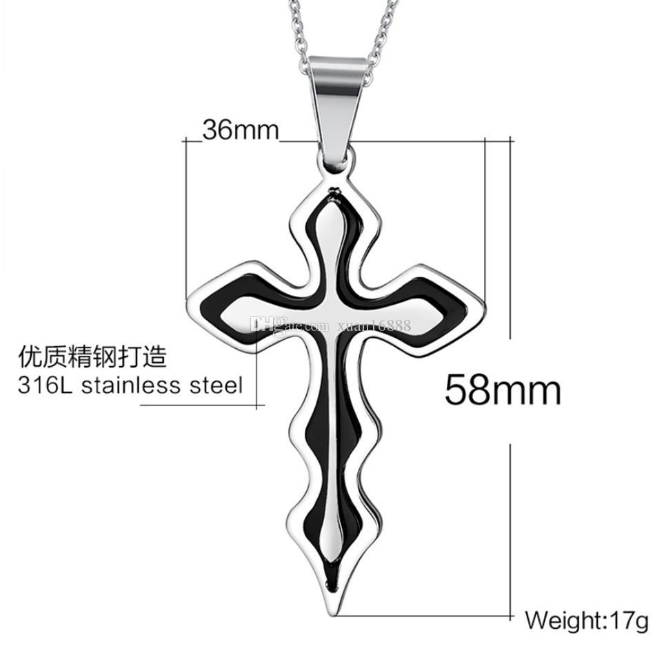 MIC 12 ШТ. Мода Высокого Качества Из Нержавеющей Стали Крест Кулон мужская Цепочка Ожерелья 3 Цвета