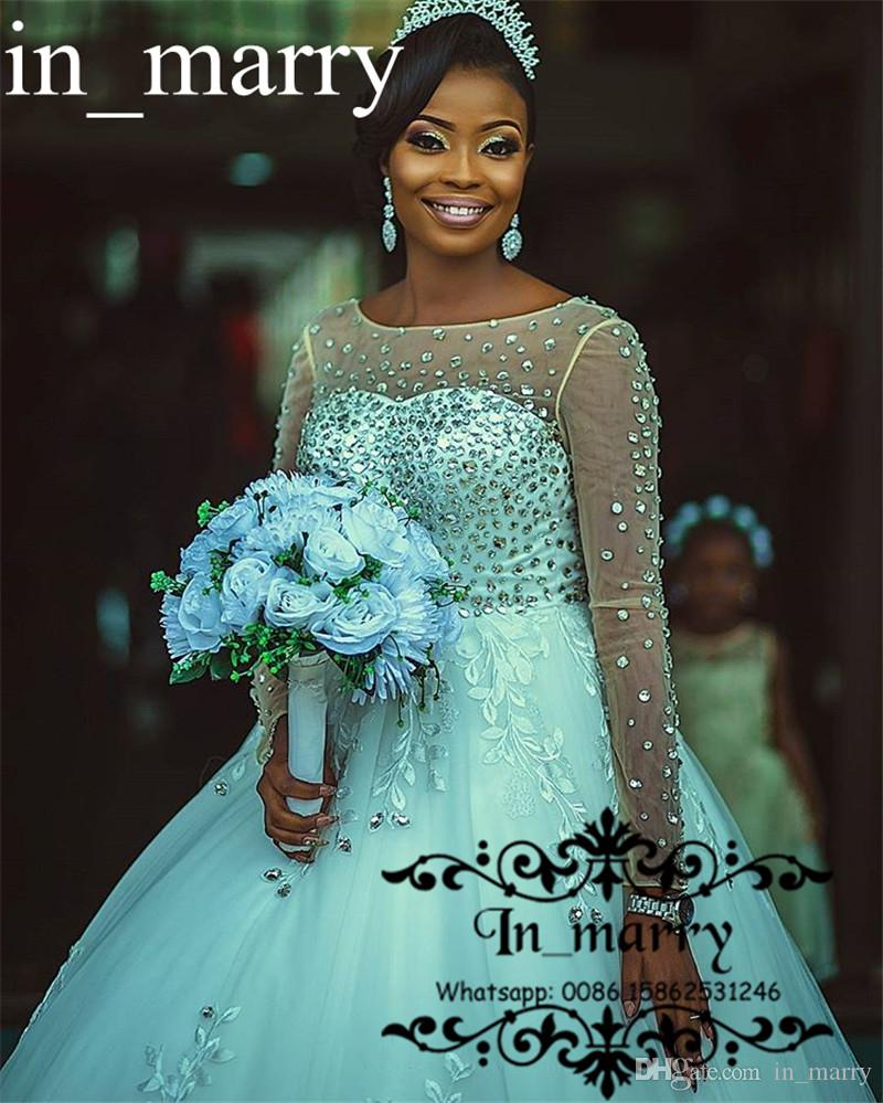 Luxury Crystals Nigeria African Lace Wedding Dresses 2018 Ball Gown ...