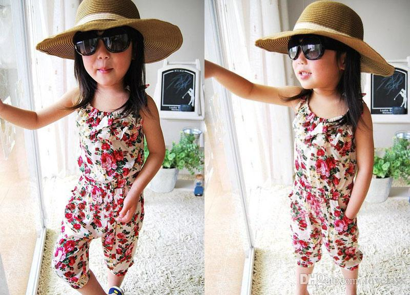 Calças Meninas 100% algodão gêmeos Calças Roupa Bebés Meninas Macacão Kids Clothing Flower Imprimir Verão Outfit Crianças Suspender Calças