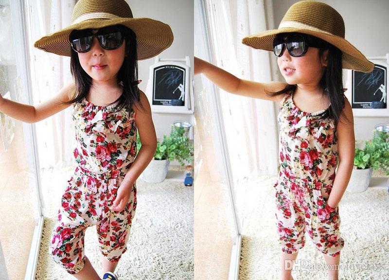 Kızlar Pantolon% 100 Pamuk Twins Pantolon Bebek Giyim Kız Tulum Çocuk Giyim Çiçek Yaz Kıyafet Çocuk Suspender Pantolon yazdır