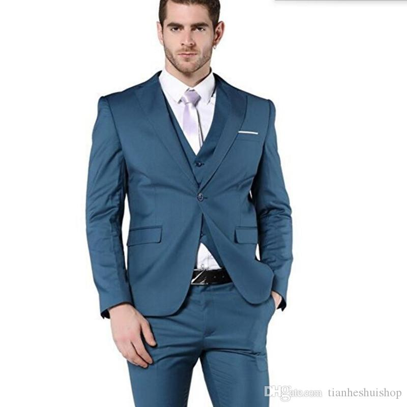 Latest design style men wedding suits tuxedos slim fit men suits haute couture groom best man dress suitsjacket+vest+pants