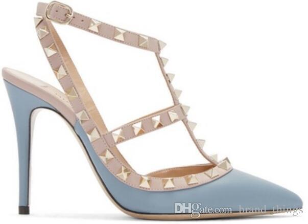 2017 Mode Frauen Spike Bolzen Pumpen elegante Hochzeit Schuhe grundlegende Knöchelriemen Pumpe Punkt Toe High Heels dünne Ferse Nieten Schuhe