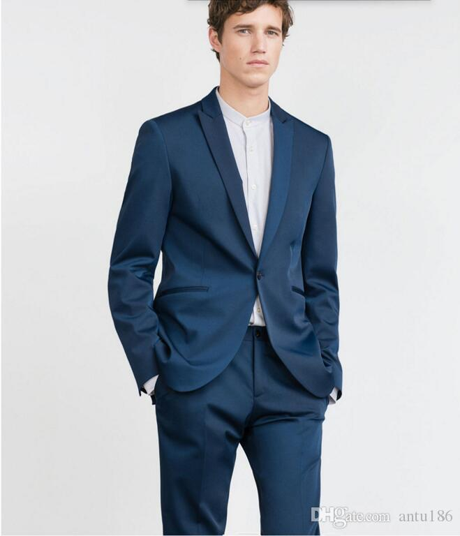 New Custom Made Fashion groom suits Navy Blue Men Suits Tuxedo Wedding Groom Suits Formal Partyjacket+pants