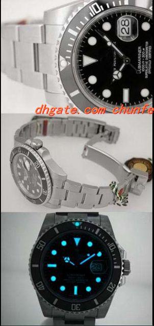 Montre de luxe Mode Boîte originale NOUVEAU Homme SS Ceramic Bezel 116610 Bracelet Mechanical Mens Montres Hommes Montre Homme De Top