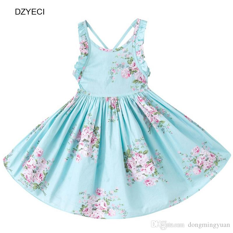 55f947041d2 Summer Floral Beach Dresses For Infant Girl Robe Princesse Sundress  Children Sling Print Backless Suspenders Frock Costume Clothing Baby Girl  Beach Floral ...