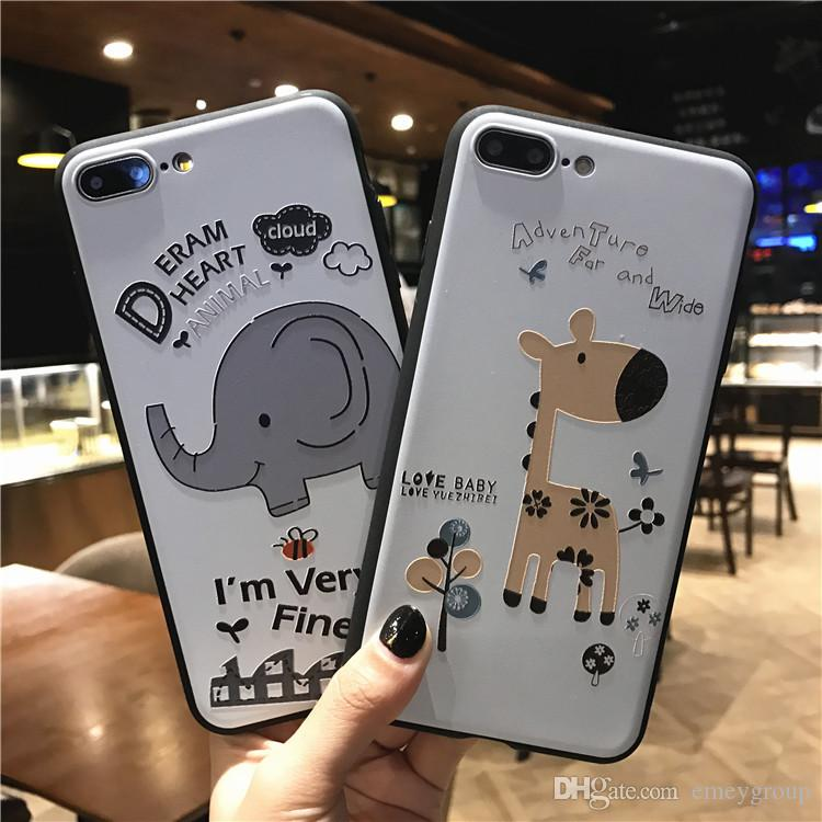 Cartoon Letters 3D Reliefs Animal Elephant Giraffe Phone Cases For iphone x 8 7 Plus 5s 6s Matte Soft Silicon Cover For iphone8 Coque