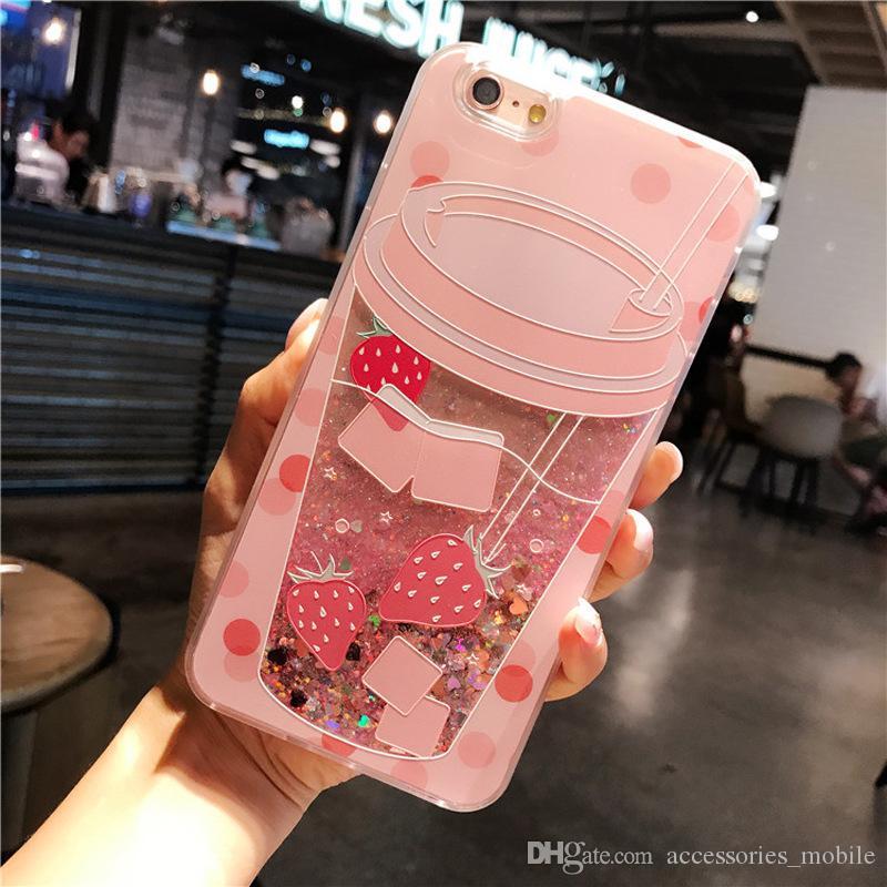 hot sale South Korea relief flamingo flash powder quicksand i 7 mobile phone shell 6S plus liquid personality protective sleeve