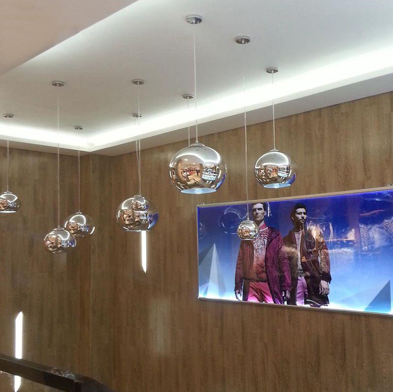Modern Gold sillver copper plated glass ball globe single pendant lamp E27 holder for dinning room bar store decor