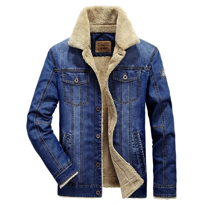 Men'S Fashion Plus Wool Denim Jacket Field Jeep Leisure And ...
