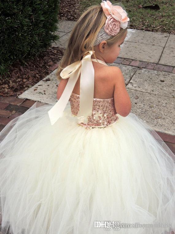 Cute Ivory Flower Girl Dresses Bling Rose Gold Sequin Halter Tutu Floor Length Ball Gown Cheap Custom Made Little Girls Pageant Dresses