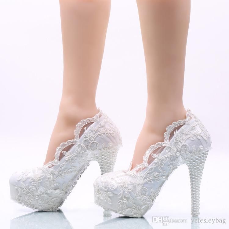 5cm / 8cm / 11cm / 14cm donne moda dolce fiore bianco pizzo piattaforma tacchi alti perle scarpe da sposa scarpe da sposa abito