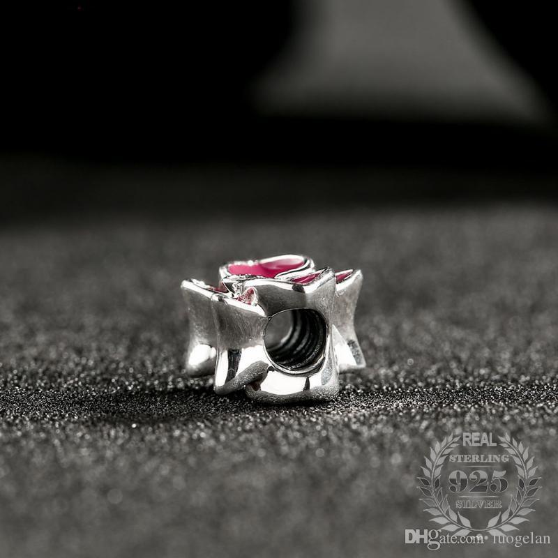 Fit Pandora Bracelet 2017 Été Nouvelle Orchidée Charmes Perle Fit Bracelets Européens Original 925 Sterling Argent Fleur Perles Pour Fabrication de Bijoux