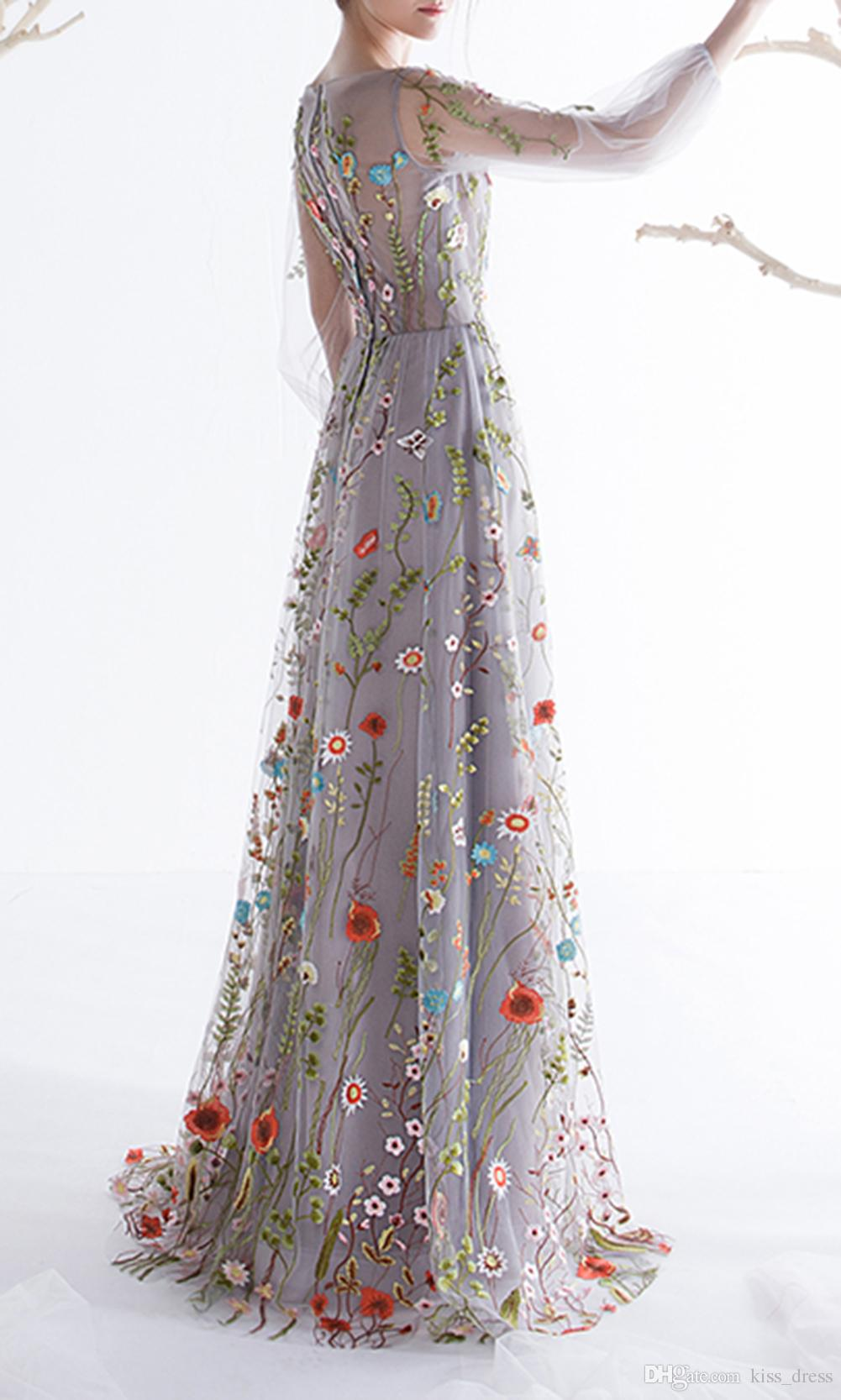 New Design Romantic Floral Prom Dresses ful 3/4 Long Sleeve Tulle A-Line Long Formal Evening Party Gowns Custom Fashionable P120