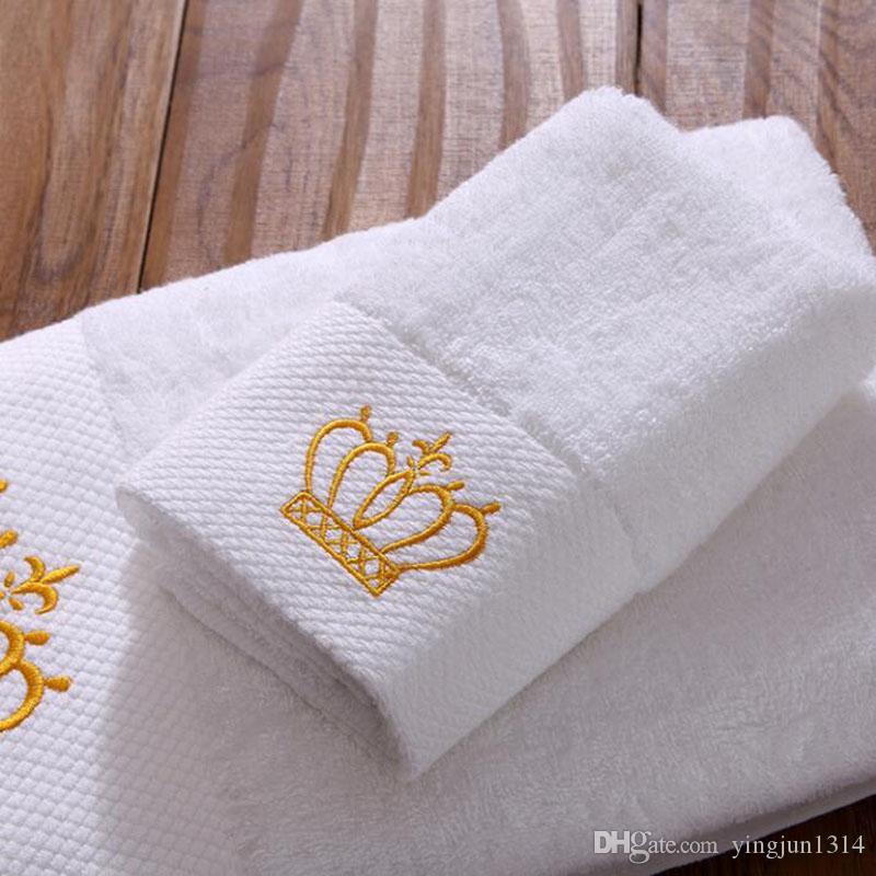 3 قطع مطرزة التاج الأبيض فندق منشفة مجموعة القطن منشفة الوجه مناشف حمام منشفة للبالغين مناشف