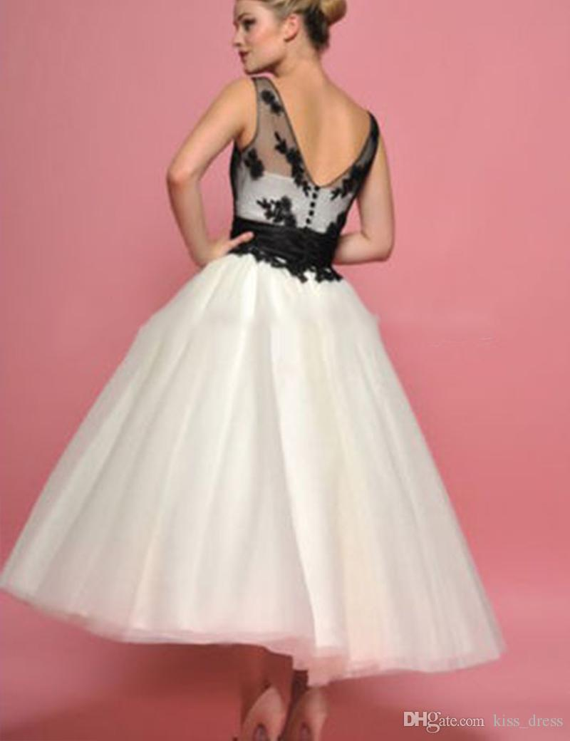 White and Black Short Wedding Dresses Summer Style Applique A-Line Ankle Length Backless Sheer Tulle Bridal Gowns Vestido De Noiva 2019 W869