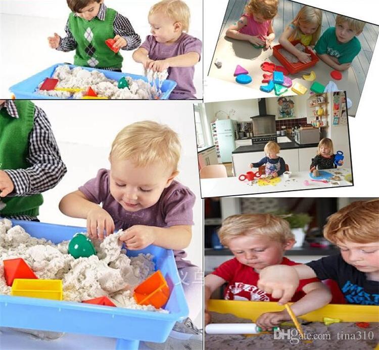 Nouveau Cadeau Outils Bleu Jaune Rose Vert Vente Chaude Dynamique Éducatif Incroyable Indoor Magic Play Sable Enfants Jouets 4135-2