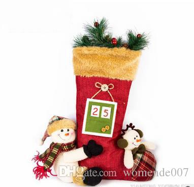 snowman christmas decorations characteristic christmas stockings linen big christmas stockings desktop furnishing articles toys for kids christmas christmas - Big Christmas Stockings
