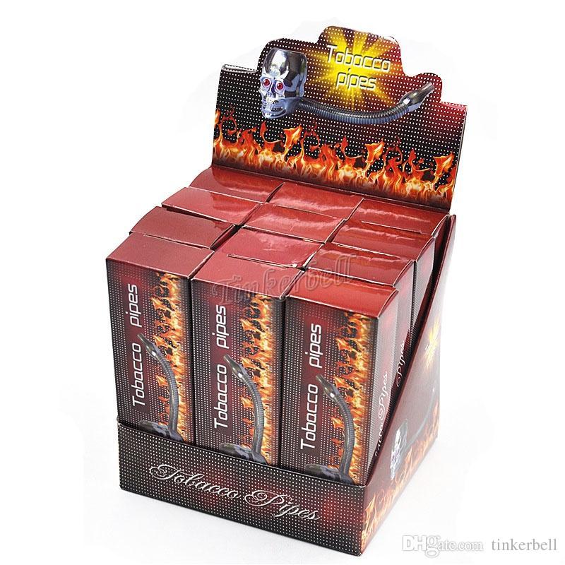 Skull shape metal smoking pipes rasta reggae pipe LED flexional flectional Smoking Pipes Tobacco Pipe Cigarette Smoking Pipe magic
