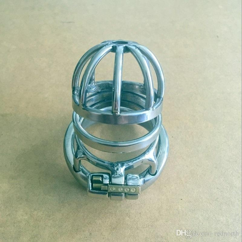 Новый замок дизайн 70 мм длина клетки из нержавеющей стали маленький мужской целомудрие устройства 130g 40 мм 45 мм 50 мм короткий петух Клетка для мужчин